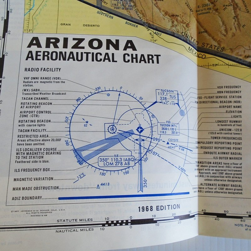 Arizona Aeronautical Chart Map with Airports, Mines, Flight Paths, Railroads, other landmarks. Dated 1968, like new.