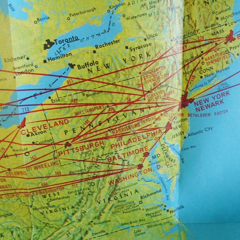 TWA Air Routes in the United States, The Superjet Airline. Map dated 1956