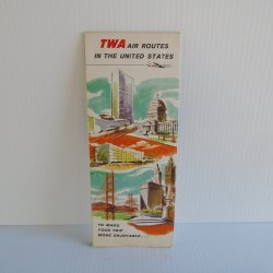 TWA Air Routes in United States, 1956 Map