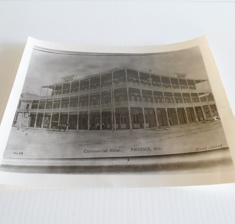 Black and white photo of the Commercial Hotel in downtown Phoenix Arizona. Original circa late 1880s. Measures about 8 by 10 inches.