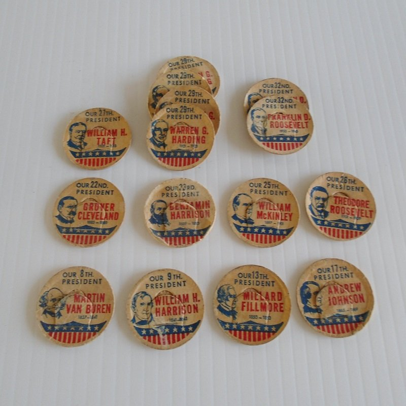 Cardboard Milk Bottle Pull Tops, 24 pieces with Presidents and Raw Market Milk. From the 1950s.Was used on glass milk bottles.