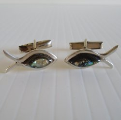 Vintage Abalone Cufflinks, Taxco Mexico, 925 Sterling, 1950s