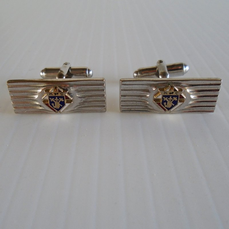 Knights of Columbus Silvertone Cufflinks. Made by Anson. Probably 1950s to 1960s. Estate purchase.