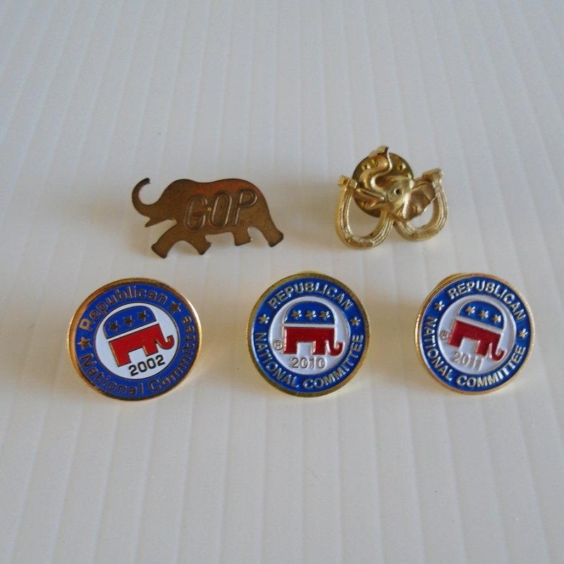 Republican National Committee RNC GOP lapel and hat pins. 5 different pieces. Estate purchase.