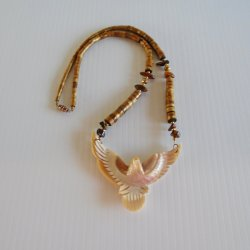 Carved Mother of Pearl Eagle Necklace, Tiger's Eye Wood