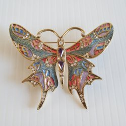 Sweet Romance Crystal Rhinestone Enamel Butterfly Brooch