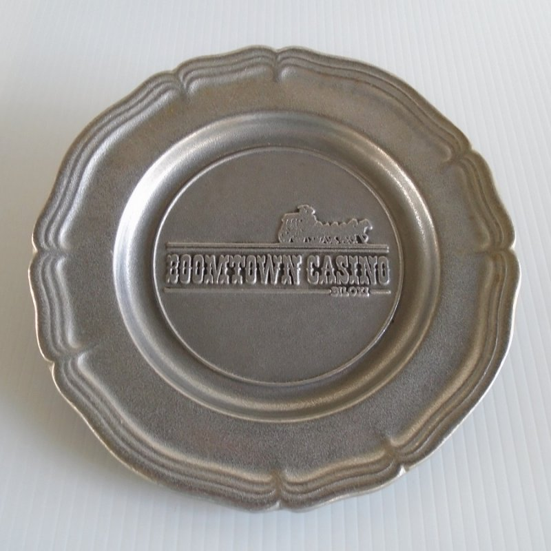 Boomtown Biloxi Mississippi pewter plate. From the Wilton Co. Has stagecoach logo. Unknown age, estate purchase.