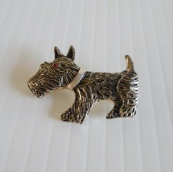 Scottish Terrier, Scottie Dog Silvertone Pin Brooch