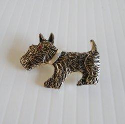 Scottish Terrier, Scottie Dog Silvertone Pin Brooch