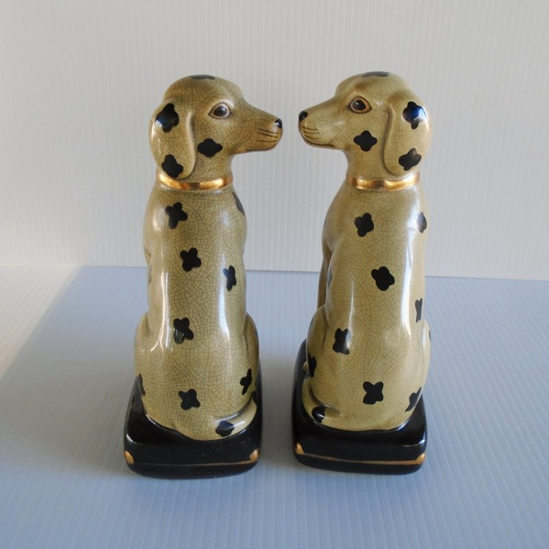 Vintage Dalmatian statues bookends. By Takahashi San Francisco. Made in Japan.