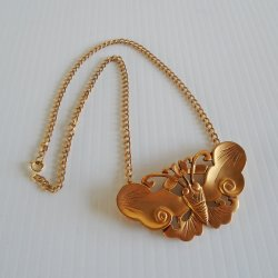 Alva Museum Butterfly Necklace, Smithsonian. Gold Plated