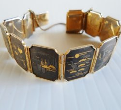 Damascene Link Bracelet, 11 Panels, Birds Flowers Buildings