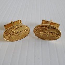 Cadillac Cufflinks, Goldtone, World Globe in Background