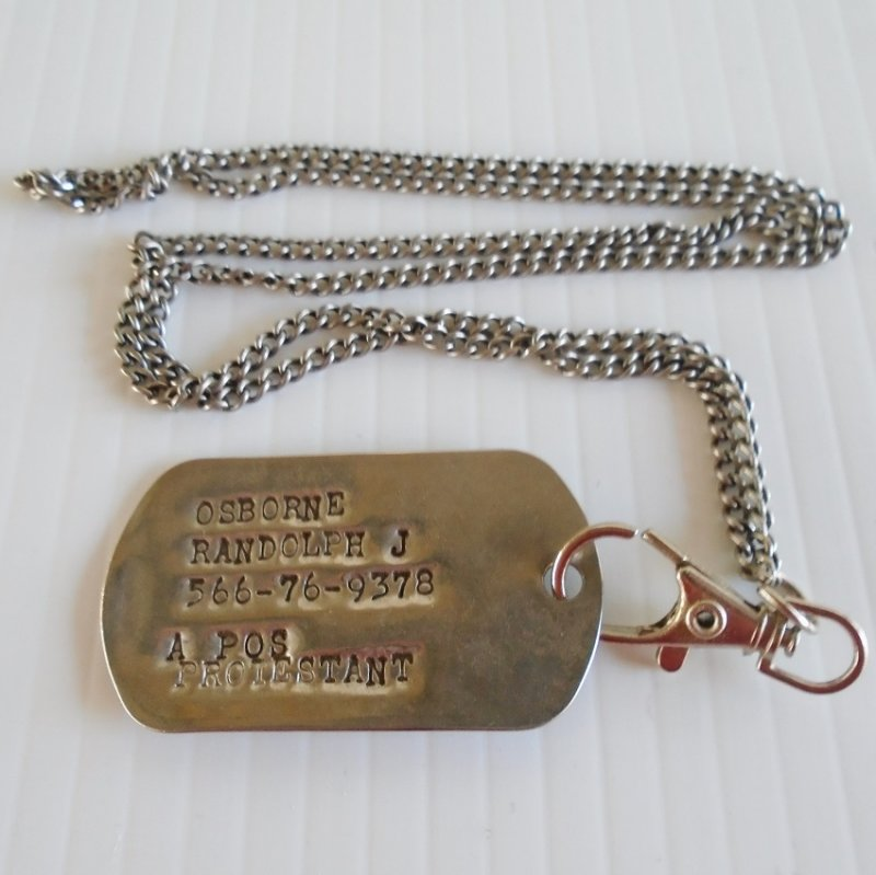 Military Dog Tag for Randolph J. Osborne. Probable U.S. Army Vietnam. Style was first issued in 1967.