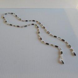 Magnetic Lariat Necklace, Black w Cloisonne Accents, 37 inch