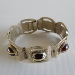 Vintage Mexico Black Tiger Eye Link Bracelet w/ Eagle Mark