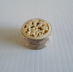 Vintage 800 Silver Pill Box, Ivory Colored Carved Floral Top