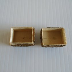 '.Paper Mache Pill Box c1950s.'