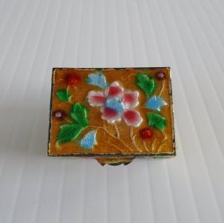 Pill Box, Metal w/ Flowers, Hinged top w/ Flowers, c1950s
