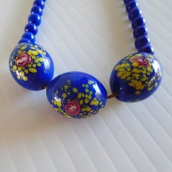 Porcelain Bead Necklace, Royal Blue w/ Sterling Silver Clasp