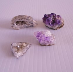 Amethyst Cluster Geodes, Qty of 4, 1 inch to Golf Ball Size