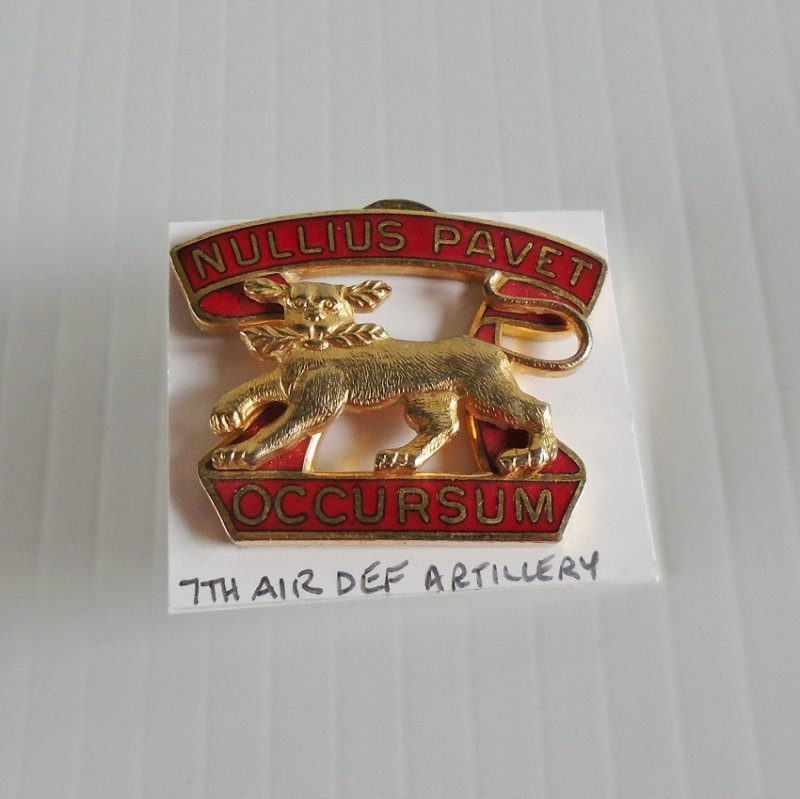 7th US Army Air Defense Artillery DUI insignia pin. Has the motto