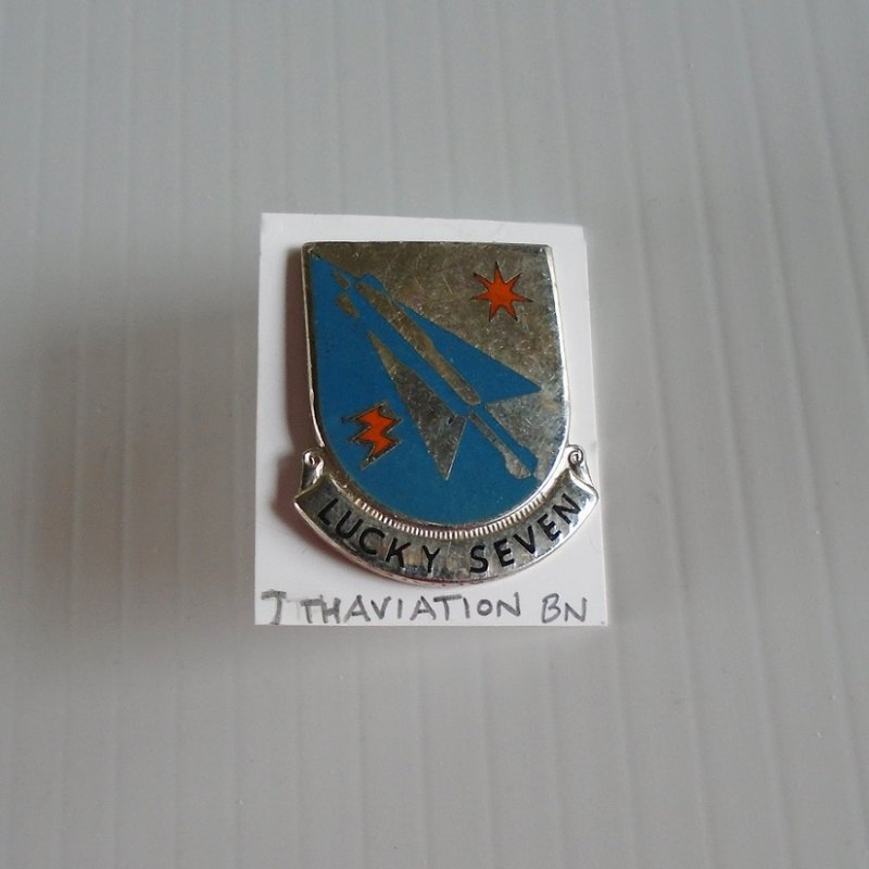 7th US Army Aviation Battalion DUI insignia pin. Has the motto