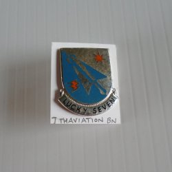 7th U S Army Aviation Battalion Lucky Seven DUI Insignia Pin