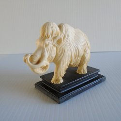 Woolly Mammoth Vintage Statue, Tagged A. Santini Italy