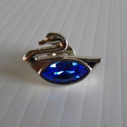 Swarovski Crystal Swan Lapel Pin or Tie Tack
