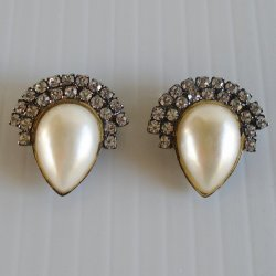 BLUETTE Pearl and Rhinestone Shoe Clips, Made 1940s France