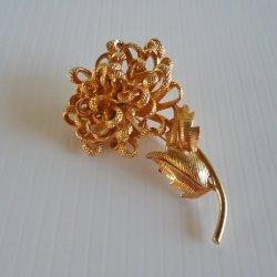 Castlecliff Vintage Goldtone Floral Brooch Pin