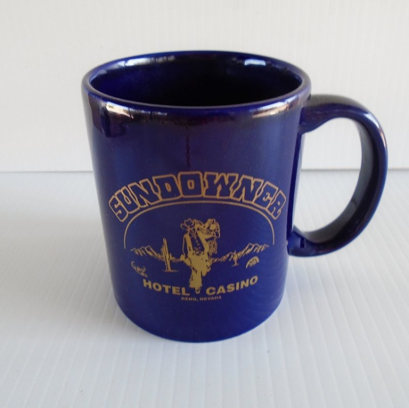 Sundowner Reno Nevada closed hotel casino coffee cup. Dates between 1975 and 2003. Excellent condition, possibly never used. Estate purchase.