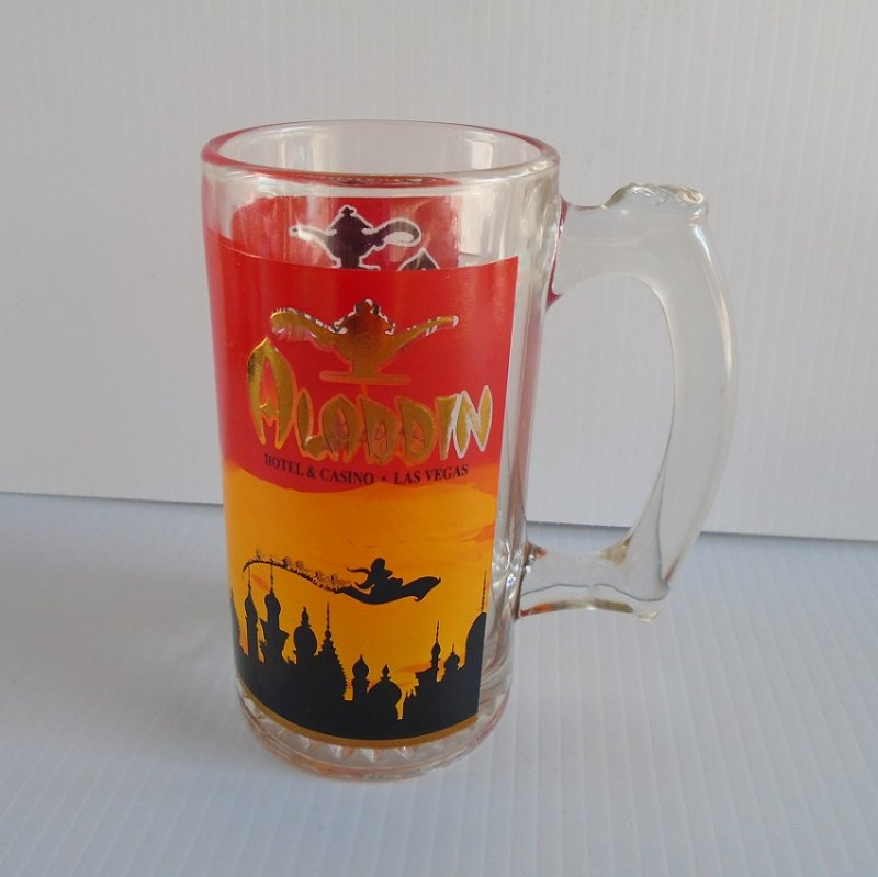 Las Vegas closed Aladdin hotel casino thick glass beer mug. Dates between 1966 and 1997. Excellent condition, possibly never used. Estate purchase.