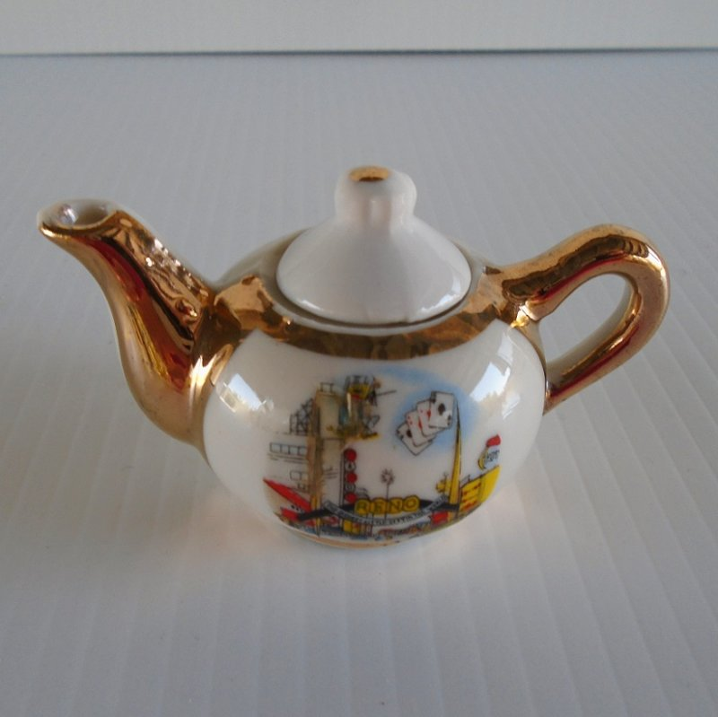 Reno Nevada 1950s - 1960s vintage mini teapot with Biggest Little City sign and Virginia Street scene. Estate purchase.