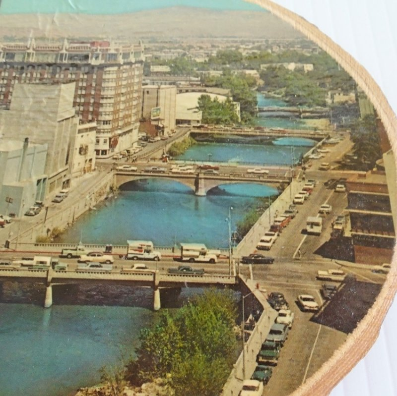 Reno Nevada 1950s - 1960s downtown aerial photo on tree trunk slice.  Estate purchase.