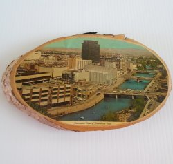 Vintage Reno Nevada 1960s Aerial Photo on Tree Slice Plaque