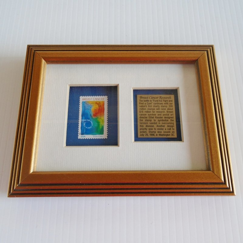 Breast Cancer Awareness Special Edition Fund Raising Postal Stamp, Framed, dated 1998.