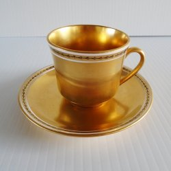 Gold Gilt Teacup or Demitasse Cup and Saucer