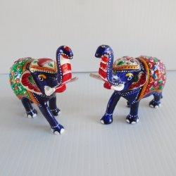 Enamel Elephants, Set of 2 Cloisonne from India
