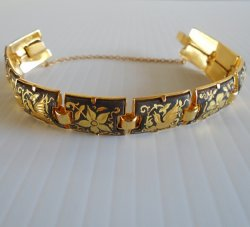 Damascene Link Bracelet, 10 Panels, Birds and Flowers