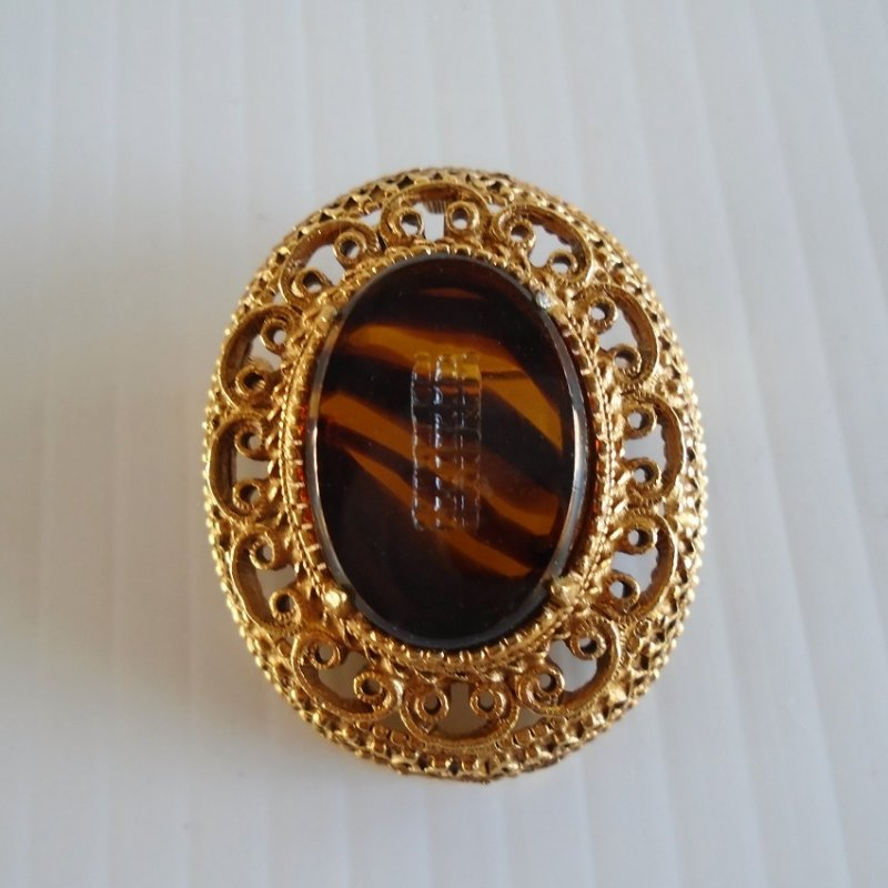 Elegant Florenza Glass Faux Tortoiseshell Brooch, mid century time frame. Etched and signed. Estate purchase.