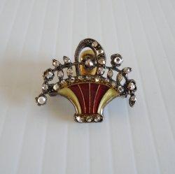Catherine Popesco Swarovski Crystals Flower Basket Pin