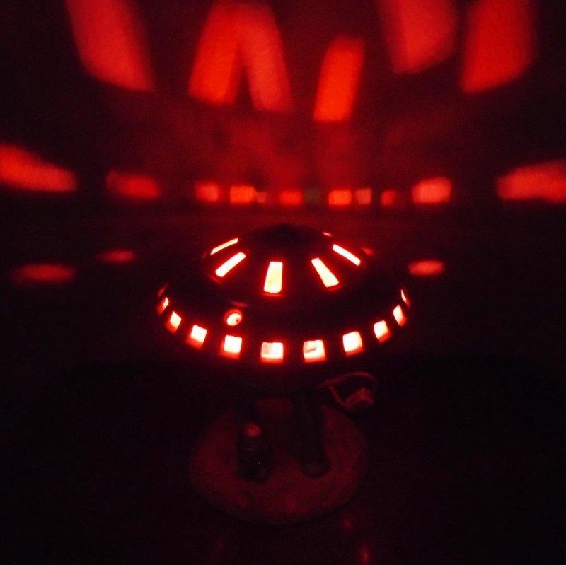 Mid century UFO Alien Spaceship sitting on the moon table top night light lamp. Flashing lights, alien man, probably ceramic. Estate purchase.