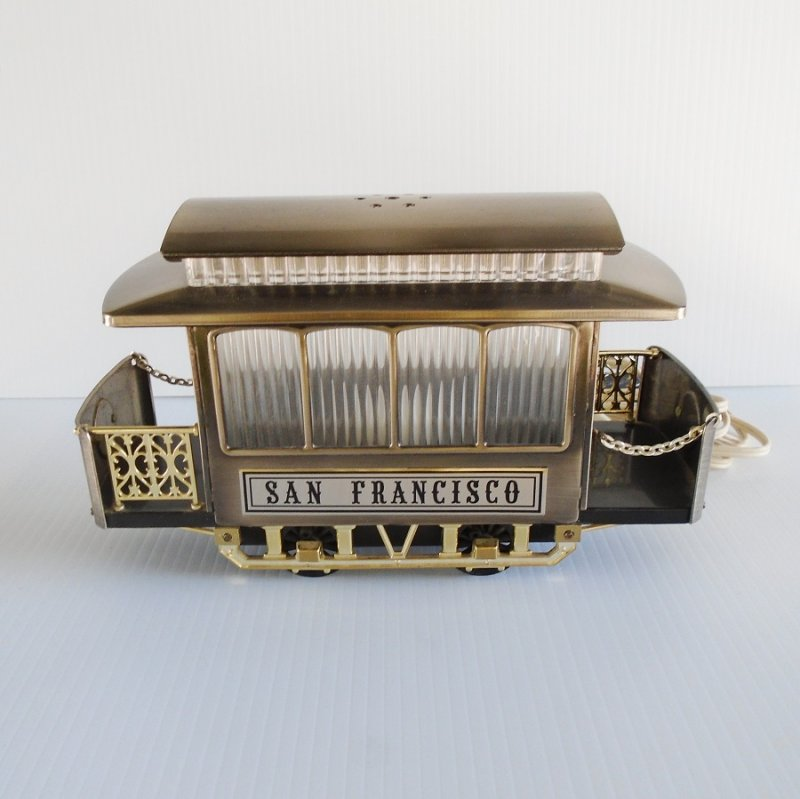 Mid century San Francisco trolley car cable car table top night light lamp. Great working condition. Estimated to be 1950s to 1960s. Estate purchase.