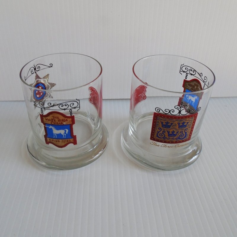 White Horse Cellar Lo Ball Rocks set of 2 glasses. Purchased in London circa 1971. Never used. Estate item.