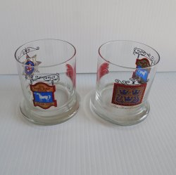White Horse Cellar, Set of 2 Vintage Lo Ball Rocks Glasses