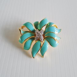 KJL Kenneth J. Lane Vintage Turquoise Flower Brooch