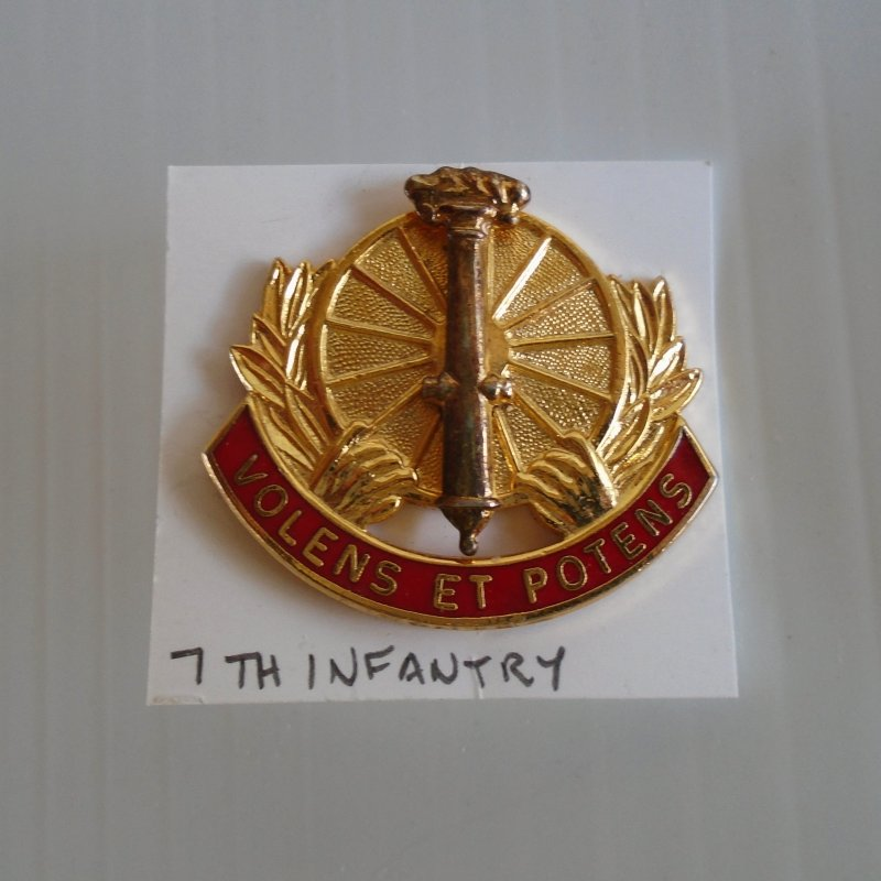 7th US Army Infantry DUI insignia pin. Volens ET Potens logo. Gold and red in color. Estate purchase.