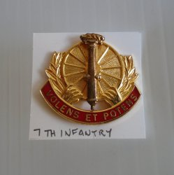 7th U.S. Army Infantry Volens ET Potens DUI Insignia Pin